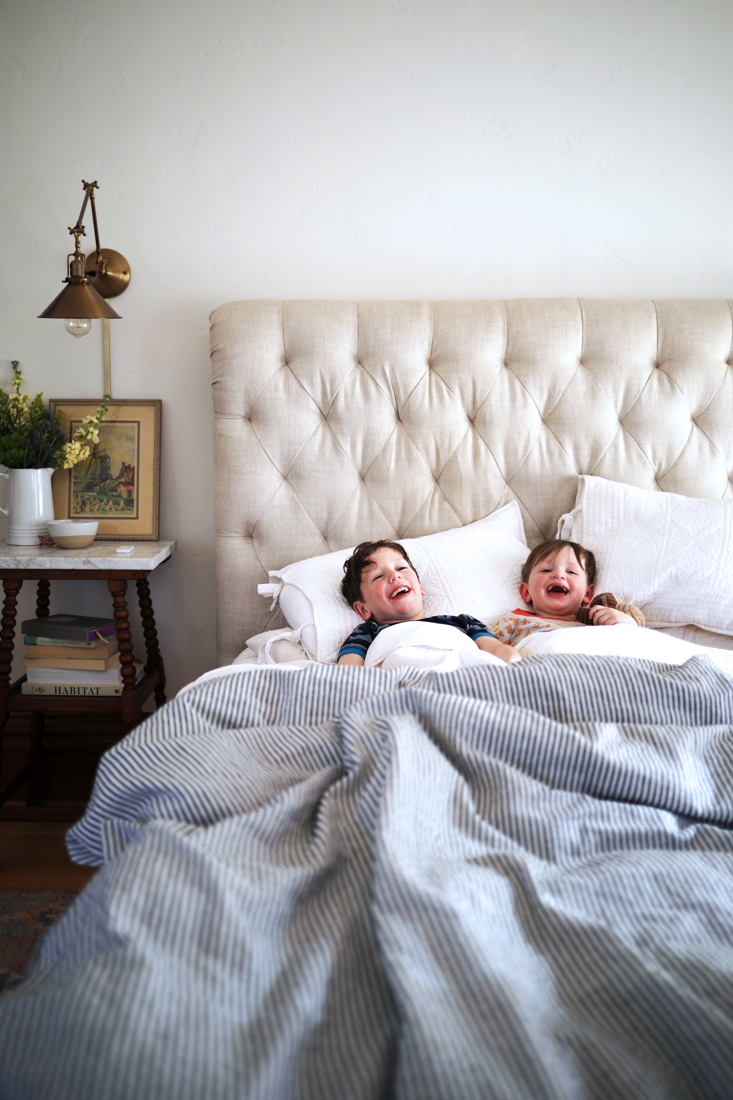 The Grit and Polish - Farmhouse Master Boys Laughing In Bed 3.jpg