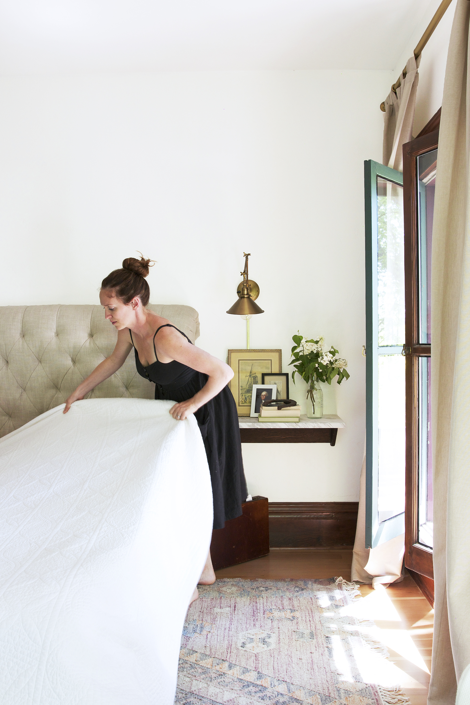 The Grit and Polish - Farmhouse Master Bedroom Windows Open C Make Bed.jpg