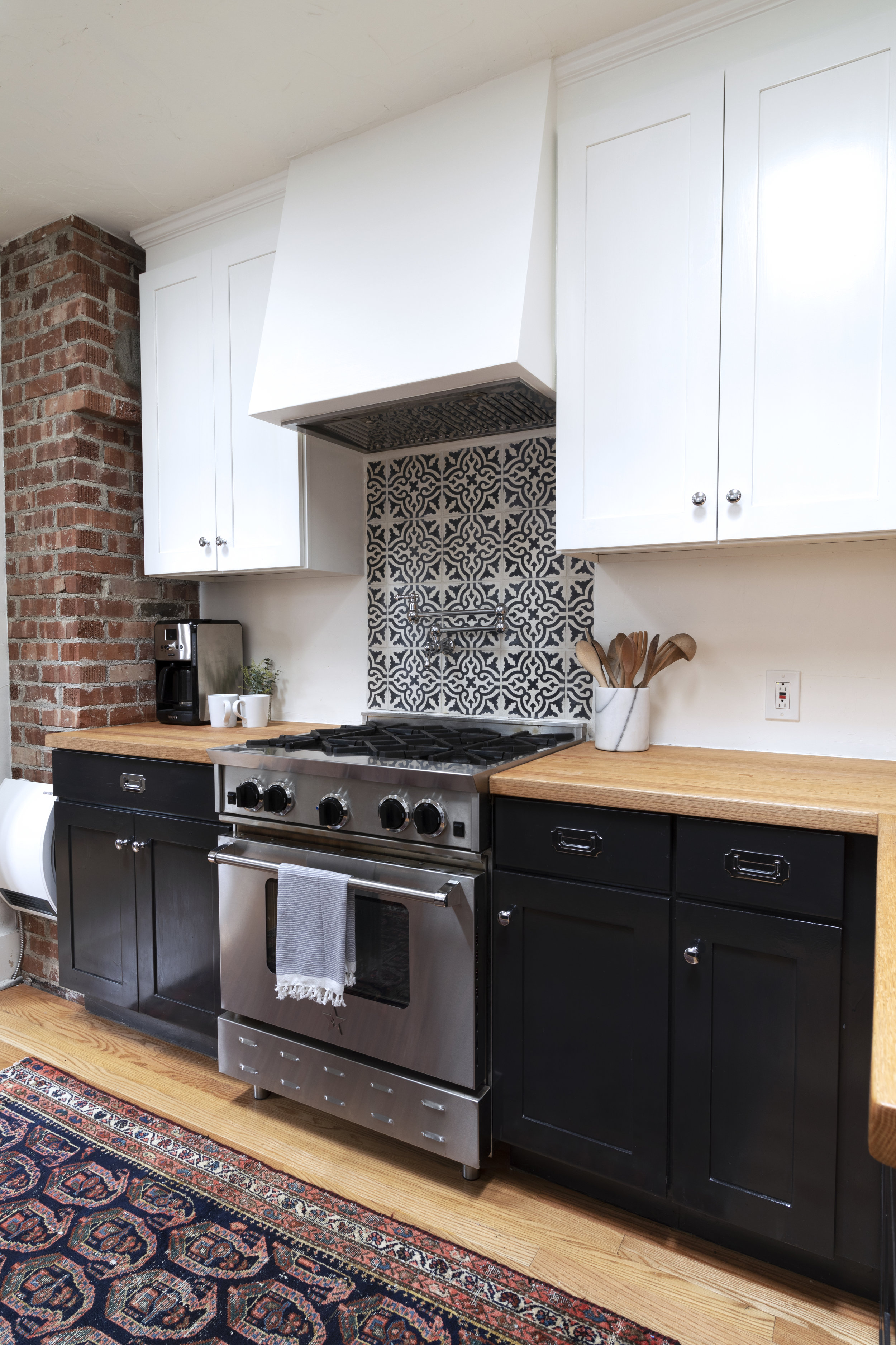 Cement Tile Backsplash at the Dexter House Kitchen // the Grit and Polish