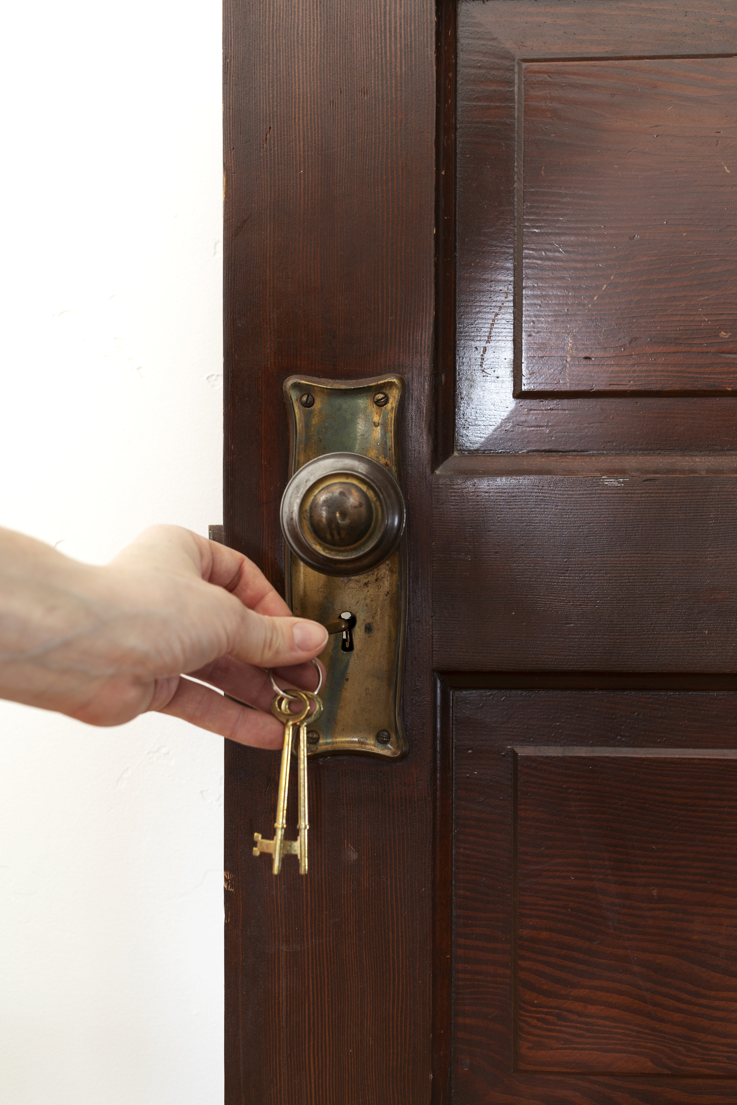 The Grit and Polish - Farmhouse Master Door with Skeleton Key in lock.jpg
