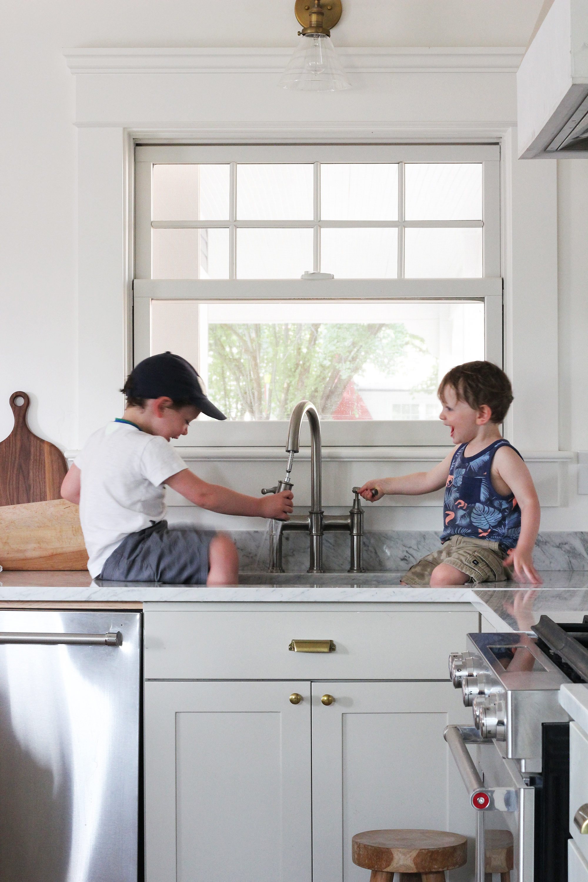 The Grit and Polish - Porch Kitchen Boys in Elkay Sink 5.2