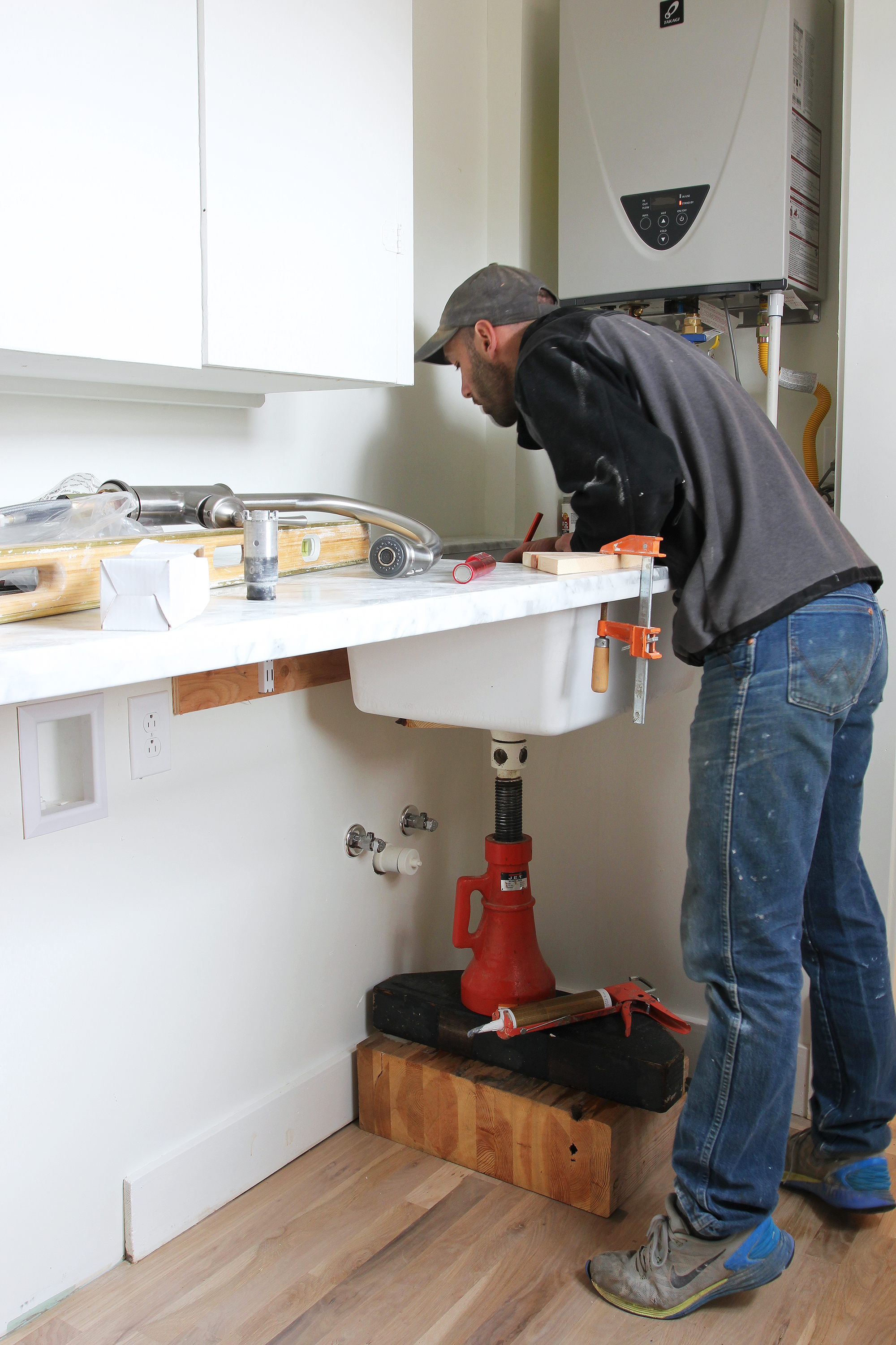 The Grit and Polish - Porch Mudroom Sink G Install