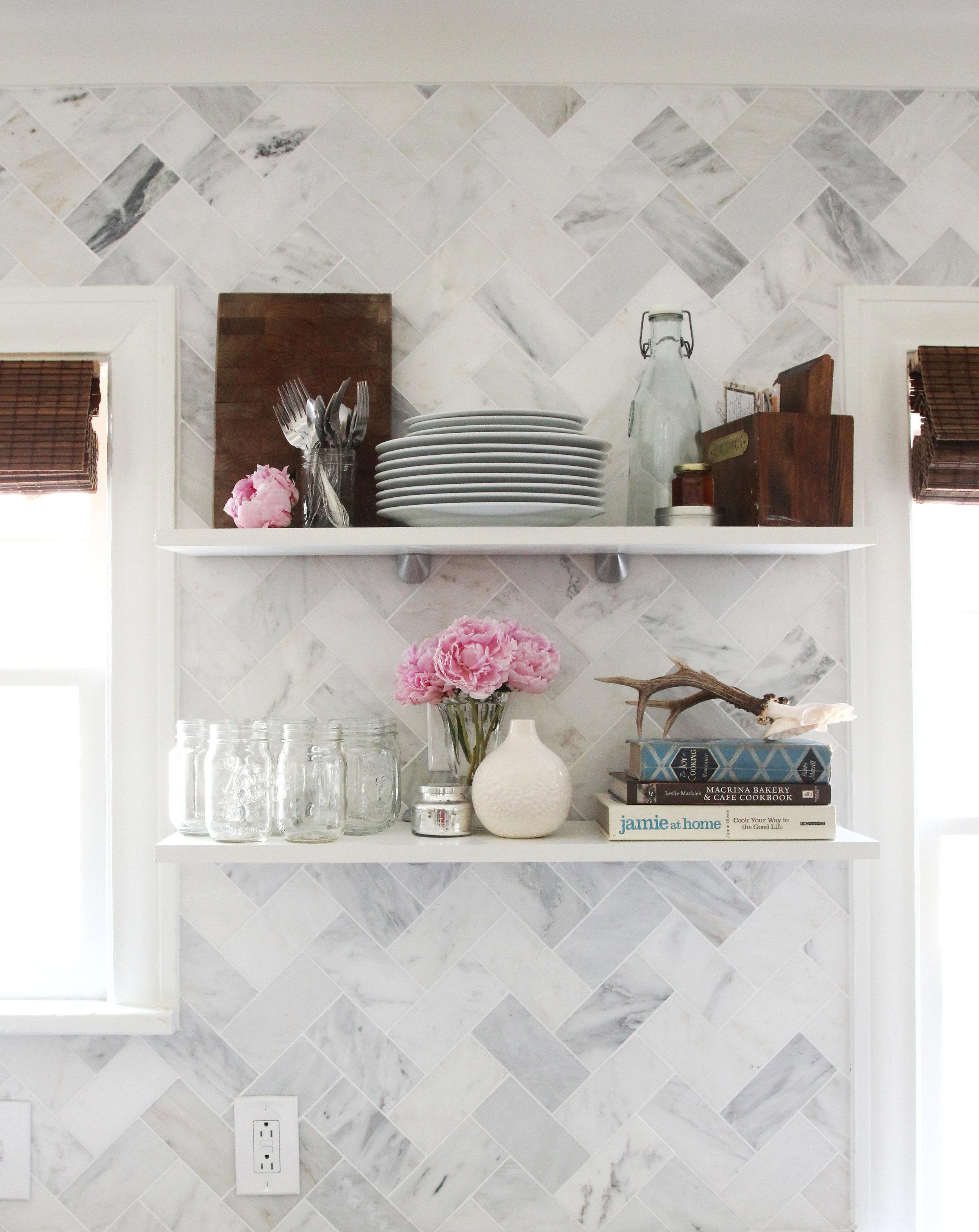 Kitchen Open Shelves over Tile Backsplash - Finished