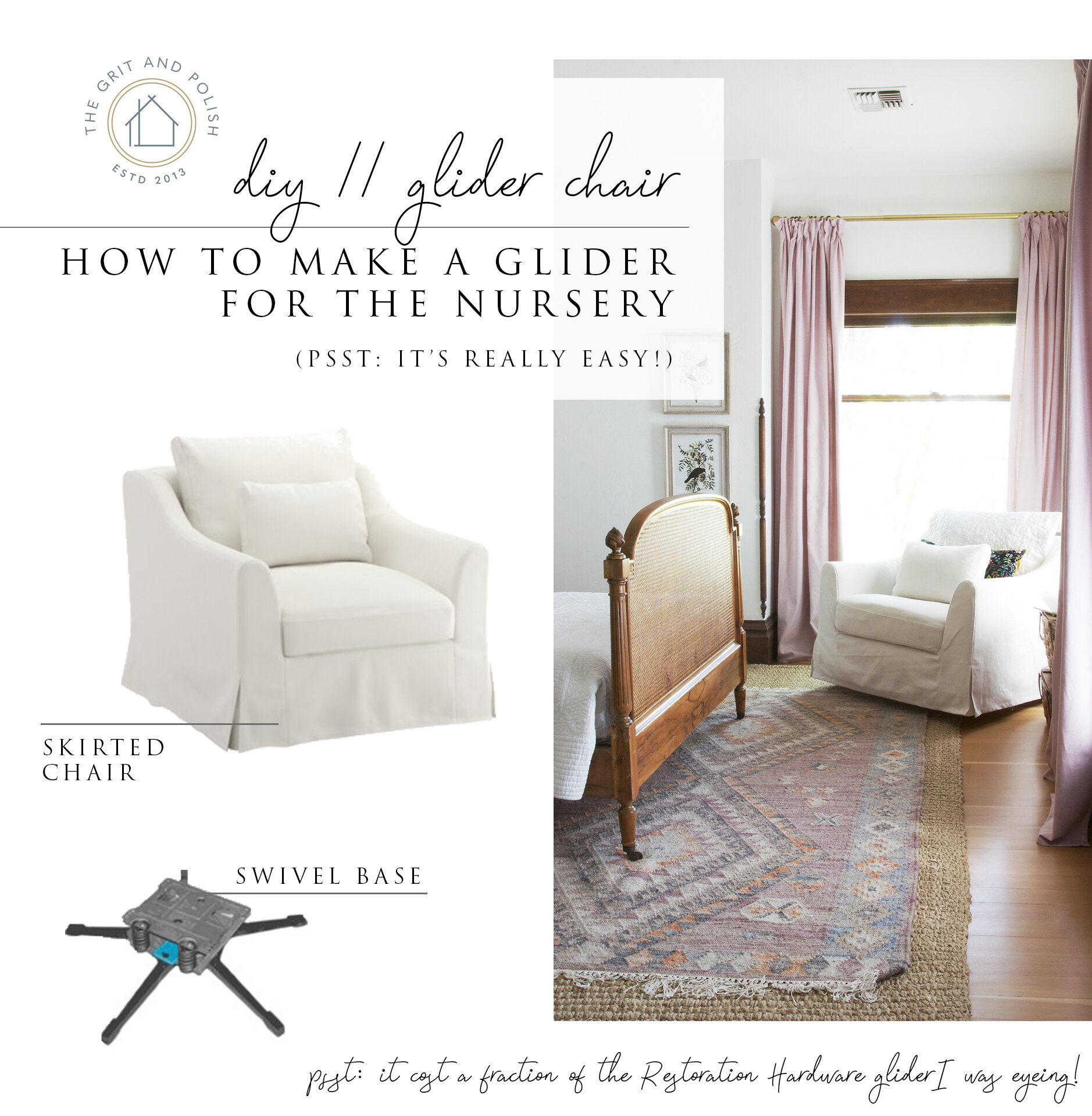 The Grit and Polish - Farmhouse Nursery DIY Skirted Glider Chair.jpg
