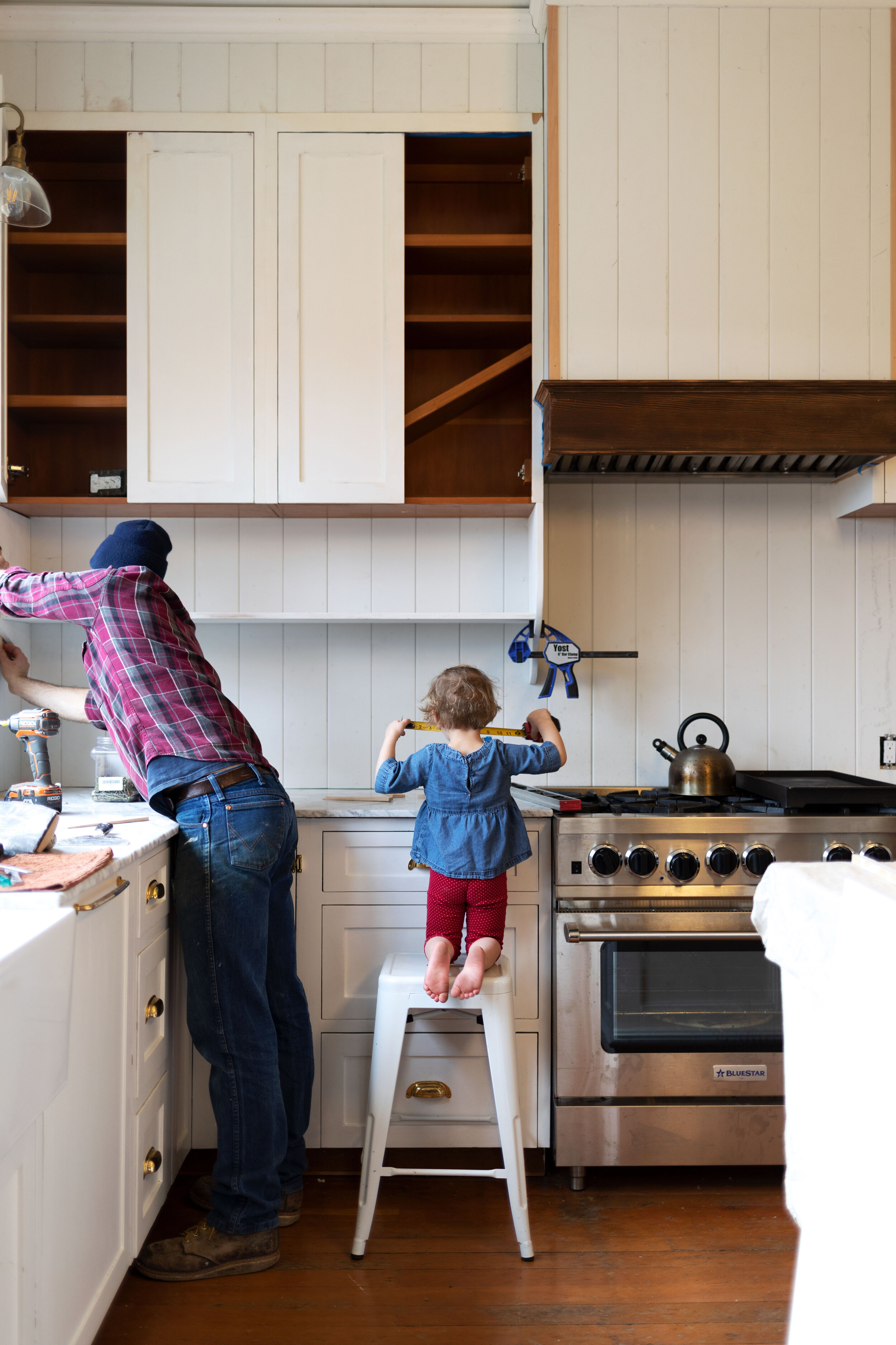 Farmhouse Kitchen Adding A Shelf Below Our Upper Cabinets Other Layouts We Considered The Grit And Polish