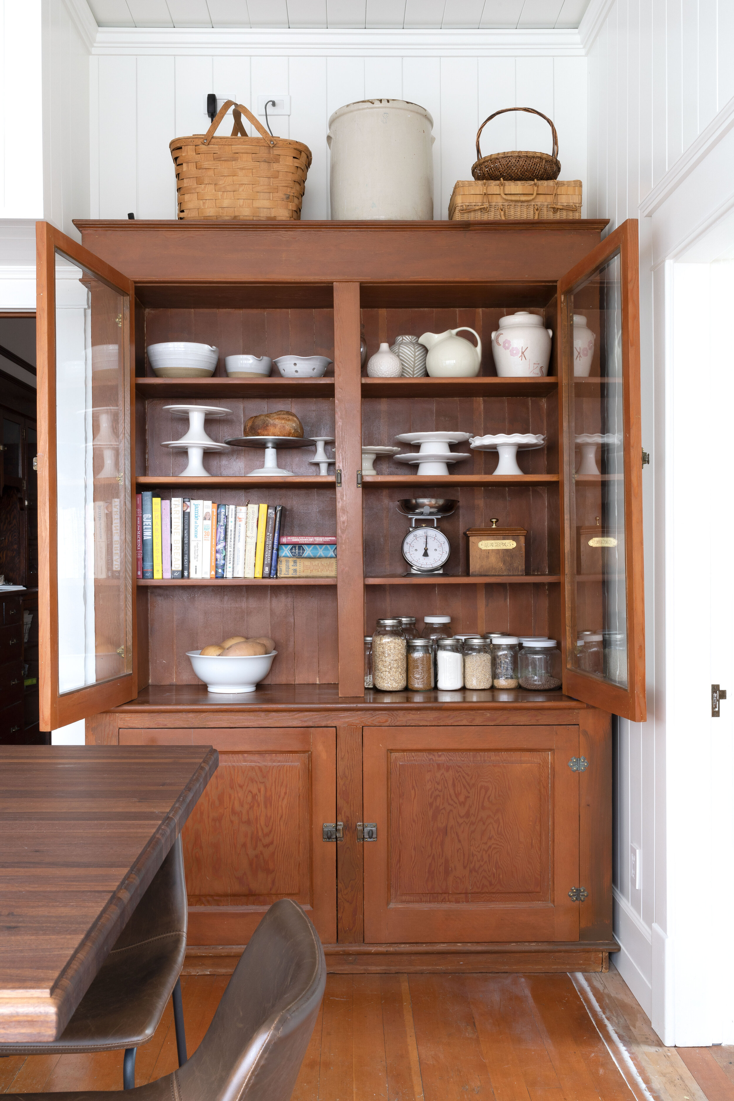 The Grit and Polish - Farmhouse White Country Kitchen Reveal Vintage Hutch web.jpg