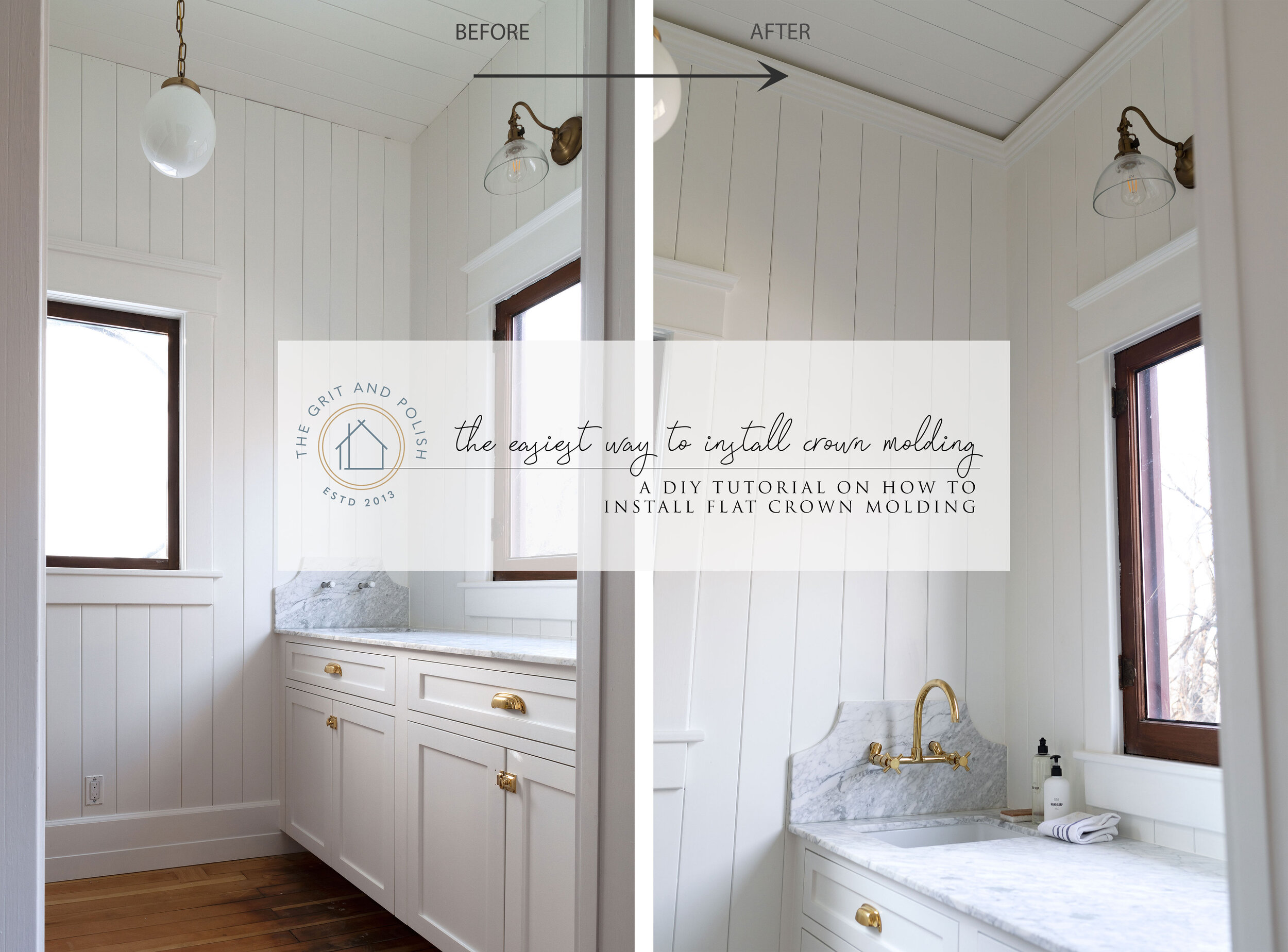Diy The Easiest Way To Install Crown Molding Ever The Grit And Polish