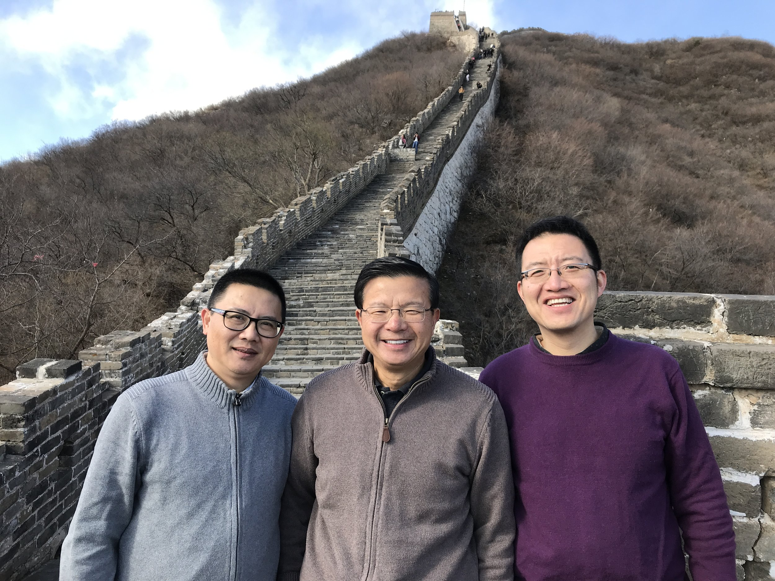 Louie Lu, with Mr. Sun, Yangtze Business Manager (China), and Mr. Lou, Yangtze Quality Control Manager (China) at the Great Wall in Beijing. The Yangtze team has been working together for more than 20 years.