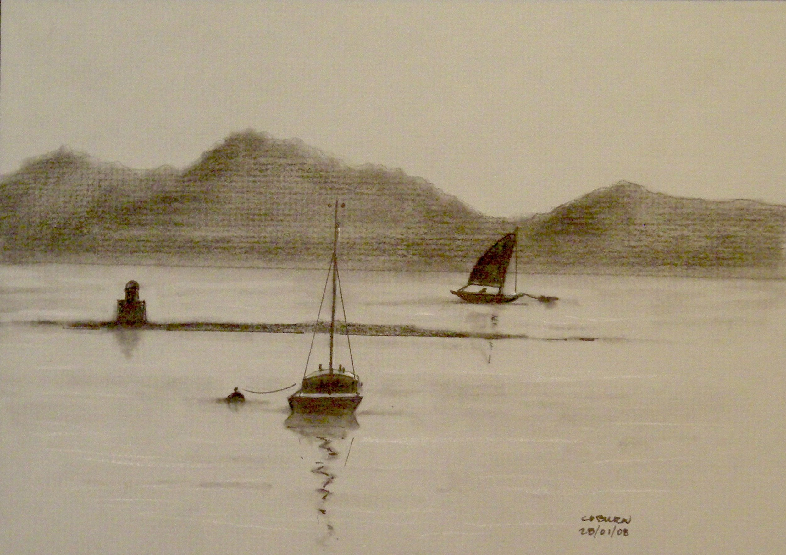 Boats in Brittany - Charcoal and Chalk 22cmx17cm €175