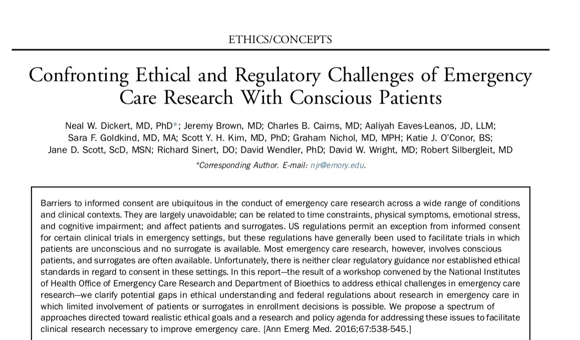 2016 - Confronting Ethical and Regulatory Challenges of Emergency Care Research With Conscious Patients