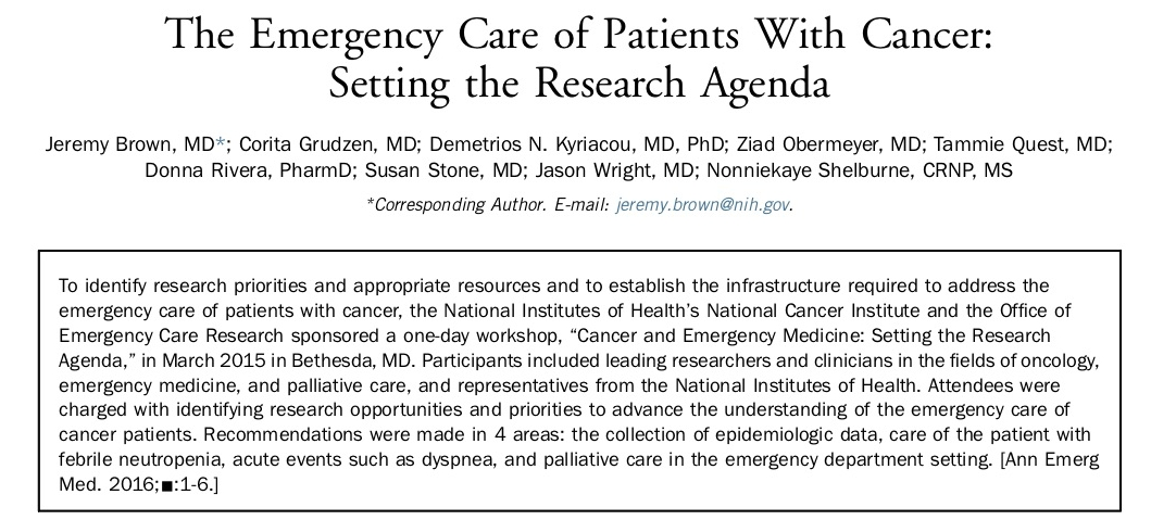 2016 - The Emergency Care of Patients With Cancer: Setting the Research Agenda