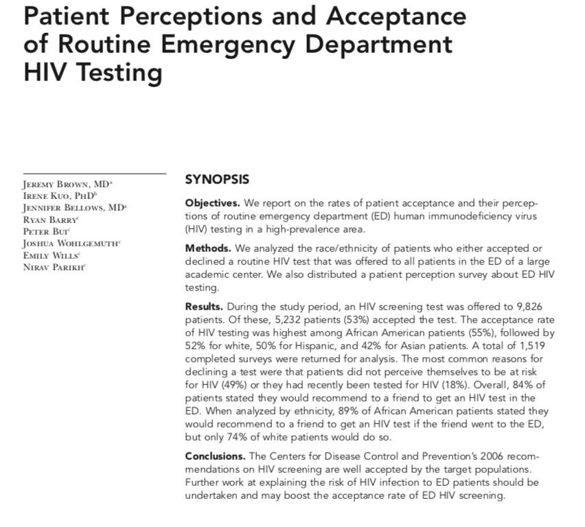 2008 - Patient Perceptions and Acceptance of Routine Emergency Department HIV Testing