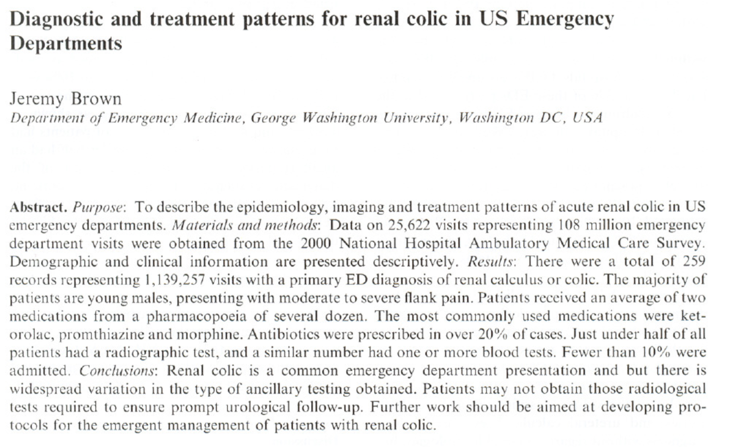 2006 - Diagnostic and Treatment Patterns for renal colic in US Emergency Departments