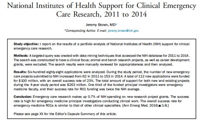 2016 - National Institutes of Health Support for Clinical Emergency Care Research, 2011 to 2014