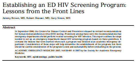 2007 - Establishing an ED HIV Screening Program: Lessons from the Front Lines
