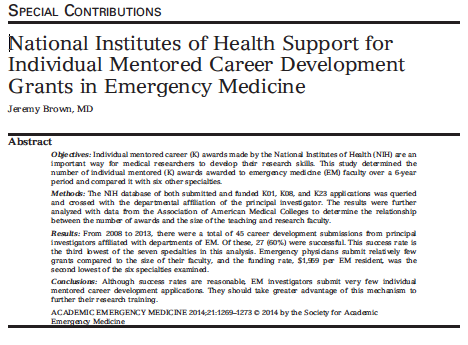 2014 - National Institutes of Health Support for Individual Mentored Career Development Grants in Emergency Medicine