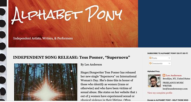 Thank you so much to @alphabet__pony for the review on your blog! Appreciate the share and feedback on Supernova!  https://www.alphabet-pony.com/2019/03/independent-song-release-tess-posner.html