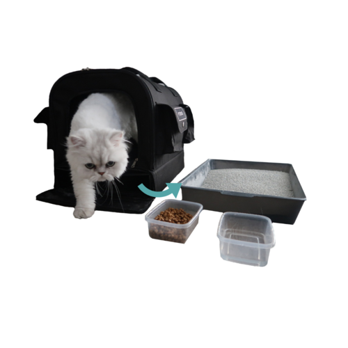 Kitty Obsession Cat Carrier is completely  sanitary . The carrier is made out of durable, wipeable fabric. The interior faux fur pad is removable and washable. The food and water containers, scooper, and litter box are washable and should be sanitized with dish soap after each use. The scooper snaps open at bottom and top for easy cleaning.