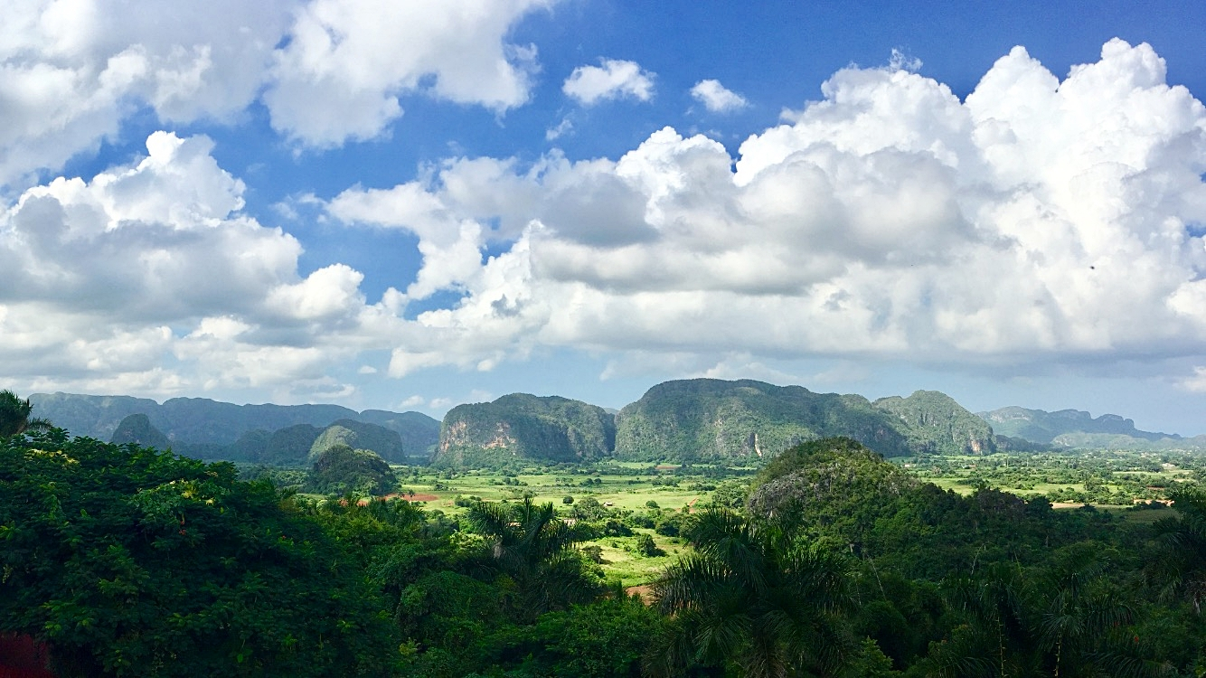 A view of the  mogotes  in Viñales Valley, a karstic depression located in the Sierra de los Órganos mountain range. Photograph by the author.