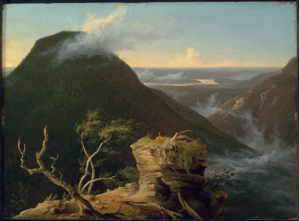 Thomas Cole (1801–1848),   View of the Round-Top in the Catskill Mountains, Sunny Morning on the Hudson  , 1827, Oil on panel, 18 5/8 x 25 3/8 inches (47.31 x 64.45 cm), Gift of Martha C. Karolik for the M. and M. Karolik Collection of American Paintings, Museum of Fine Arts, Boston, 47.1200.