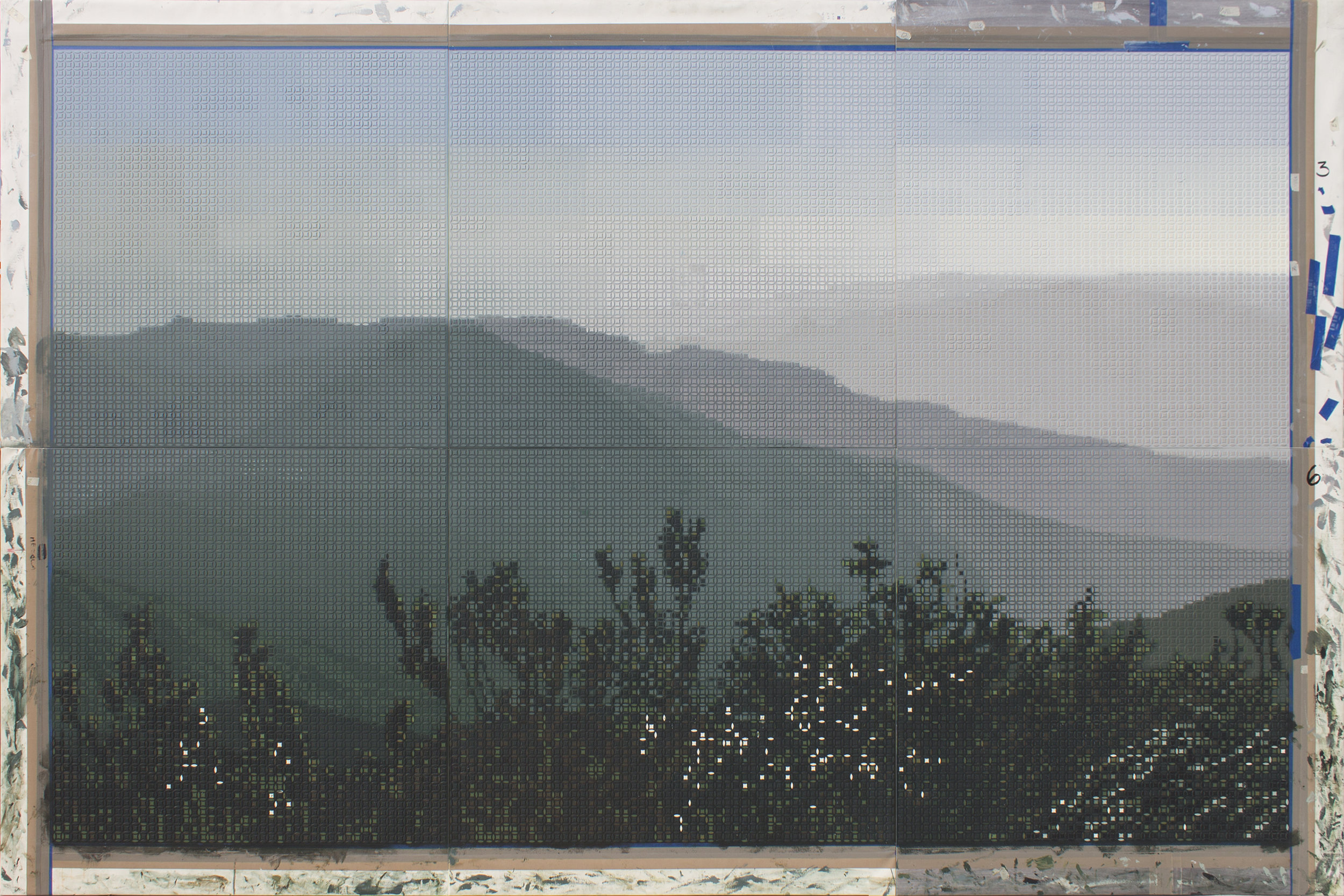 Roger Toledo Bueno,  Amanecer en el Pico Turquino  ( Sunrise at Pico Turquino ), 2018, Acrylic on canvas, 78 3/4 x 118 inches (200 x 300 cm); Comprised by six panels of 39 3/8 x 39 3/8 inches (100 x 100 cm).