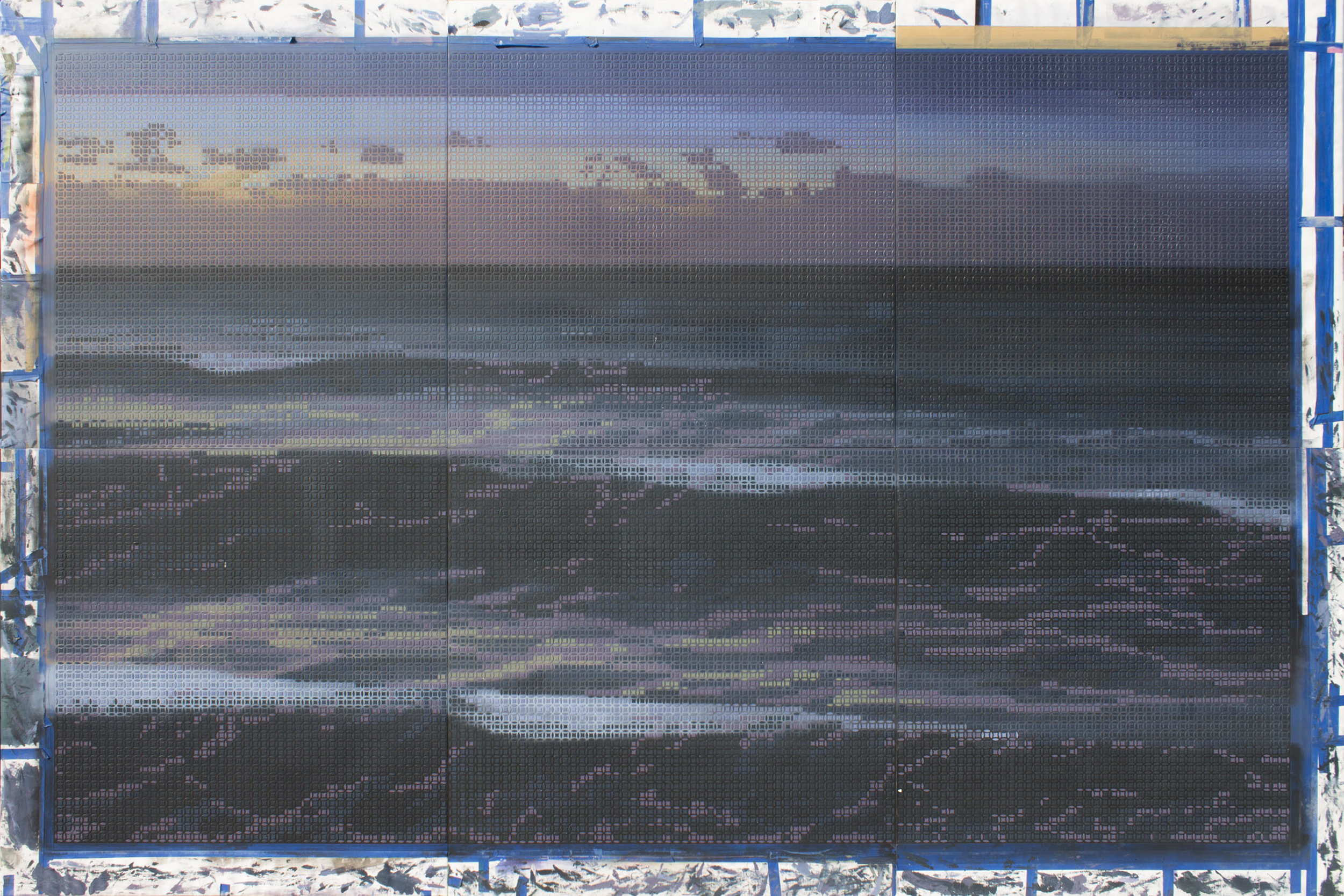 Roger Toledo Bueno,  Al Anochecer  ( At Dusk ), 2018, Acrylic on canvas, 78 3/4 x 118 inches (200 x 300 cm); Comprised by six panels of 39 3/8 x 39 3/8 inches (100 x 100 cm). [Placeholder photograph]