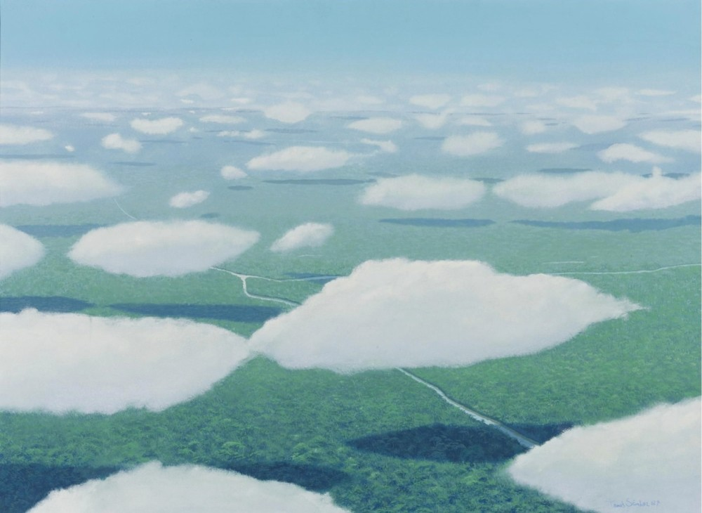 Tomás Sanchez (b. 1948),   Nubes y sombras de nubes  ( Clouds and Shadows of Clouds ) , 1987, Acrylic on canvas.