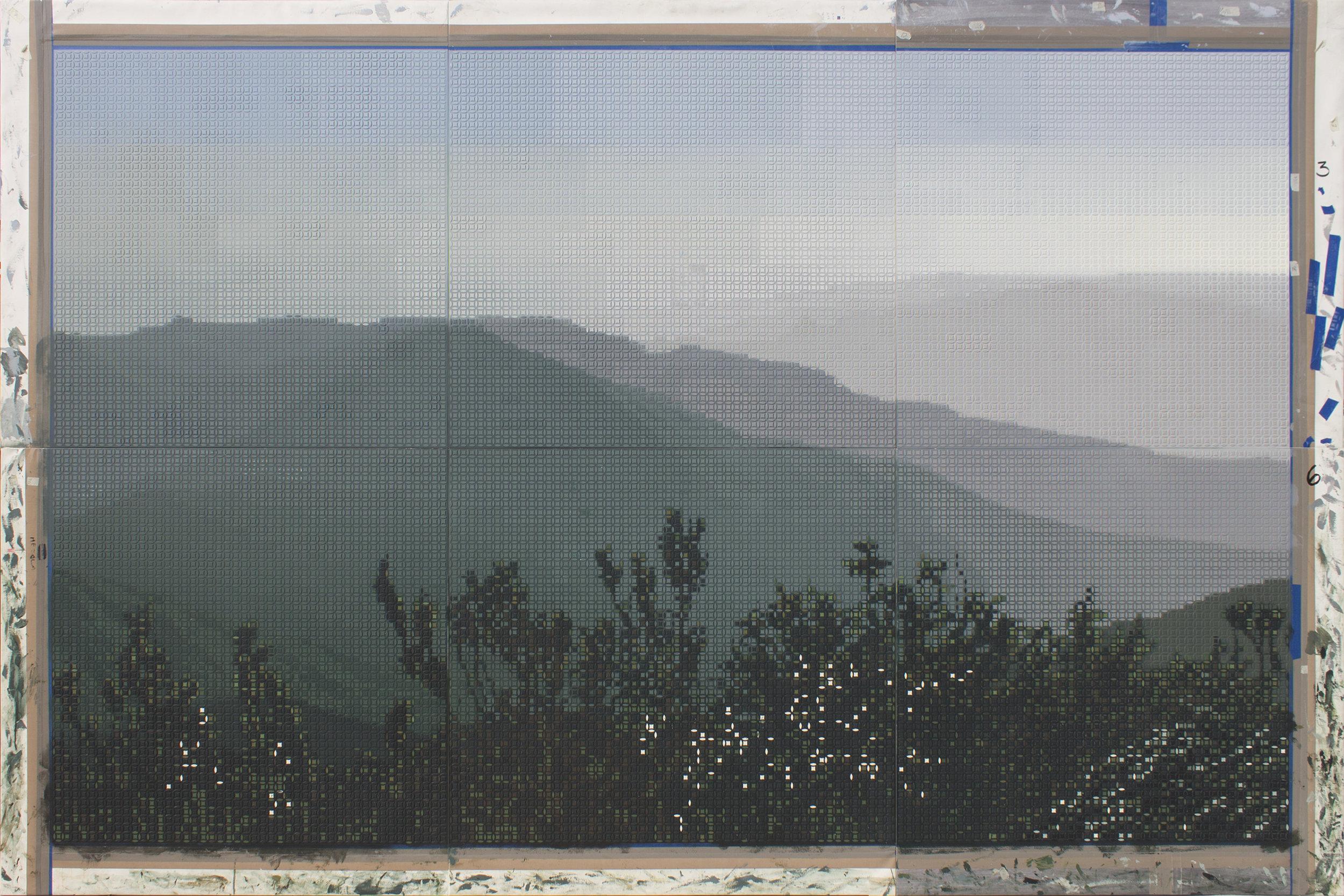 Figure 2:  Amanecer en El Pico Turquino / Sunrise at Pico Turquino , 2018-19  Acrylic On Canvas 200 X 300 cm (six panels, 100 X 100 cm each)