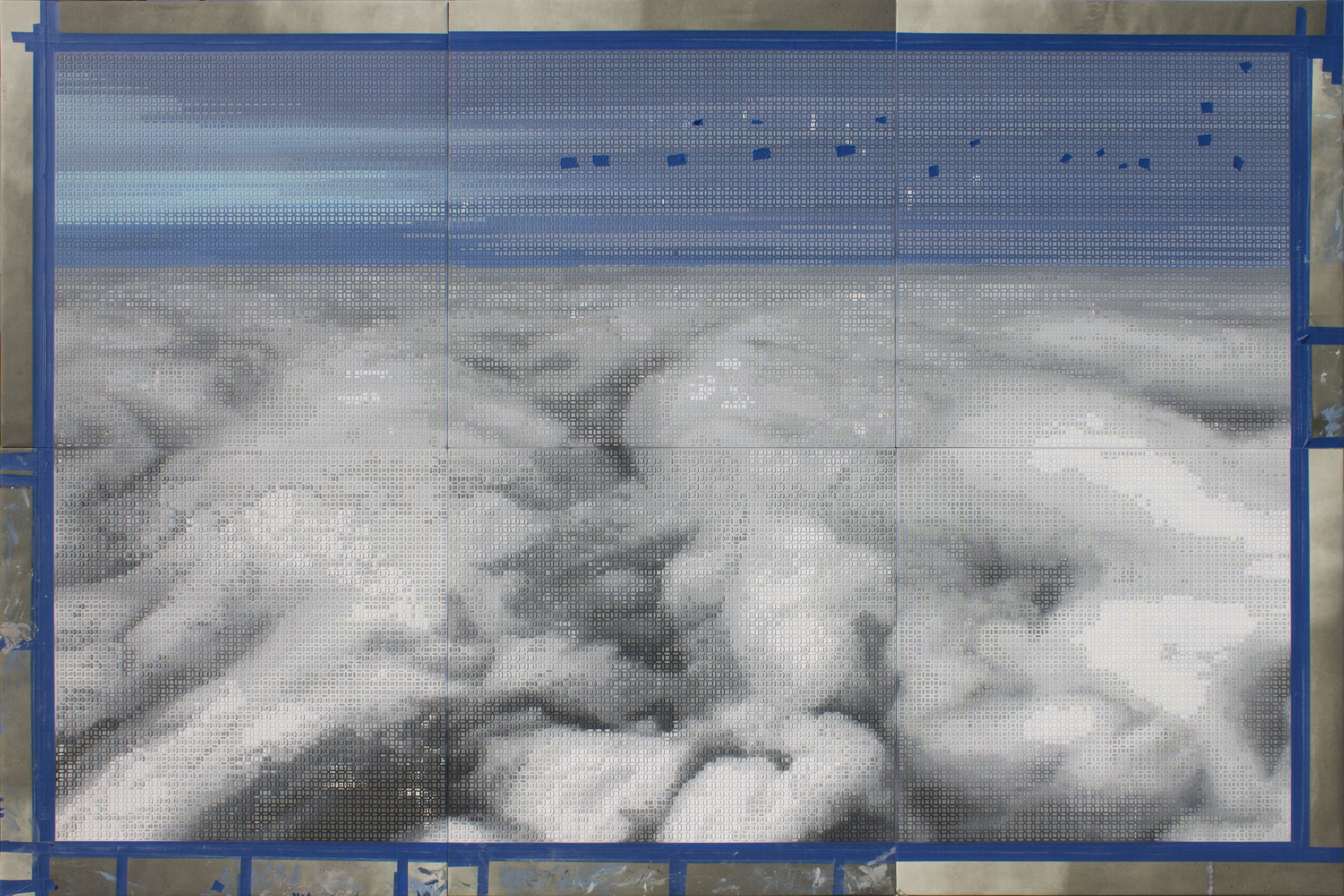 Figure 1:  Aterrizando / Landing , 2018-19  Acrylic on Canvas 200 X 300 cm (six panels, 100 X 100 cm each)