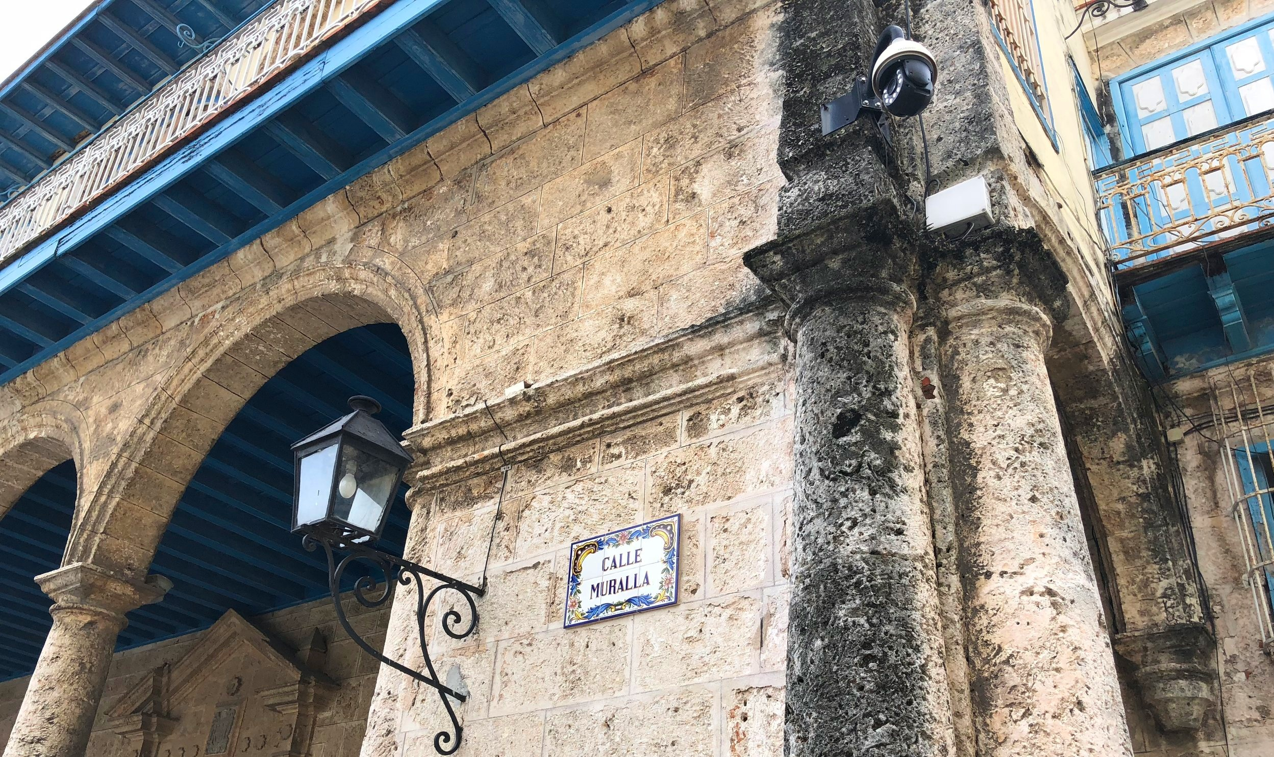 Sign for Calle Muralla at Plaza Vieja, Havana.  Photography by author, 2018.