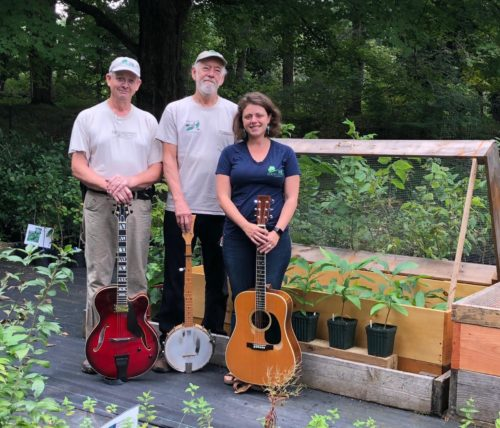 The American Chestnut Salvation Band (Bill Flemer, Mike Aucott and Carolyn Klaube) at D&R Native Plant Nursery - Photo by Laurie Cleveland