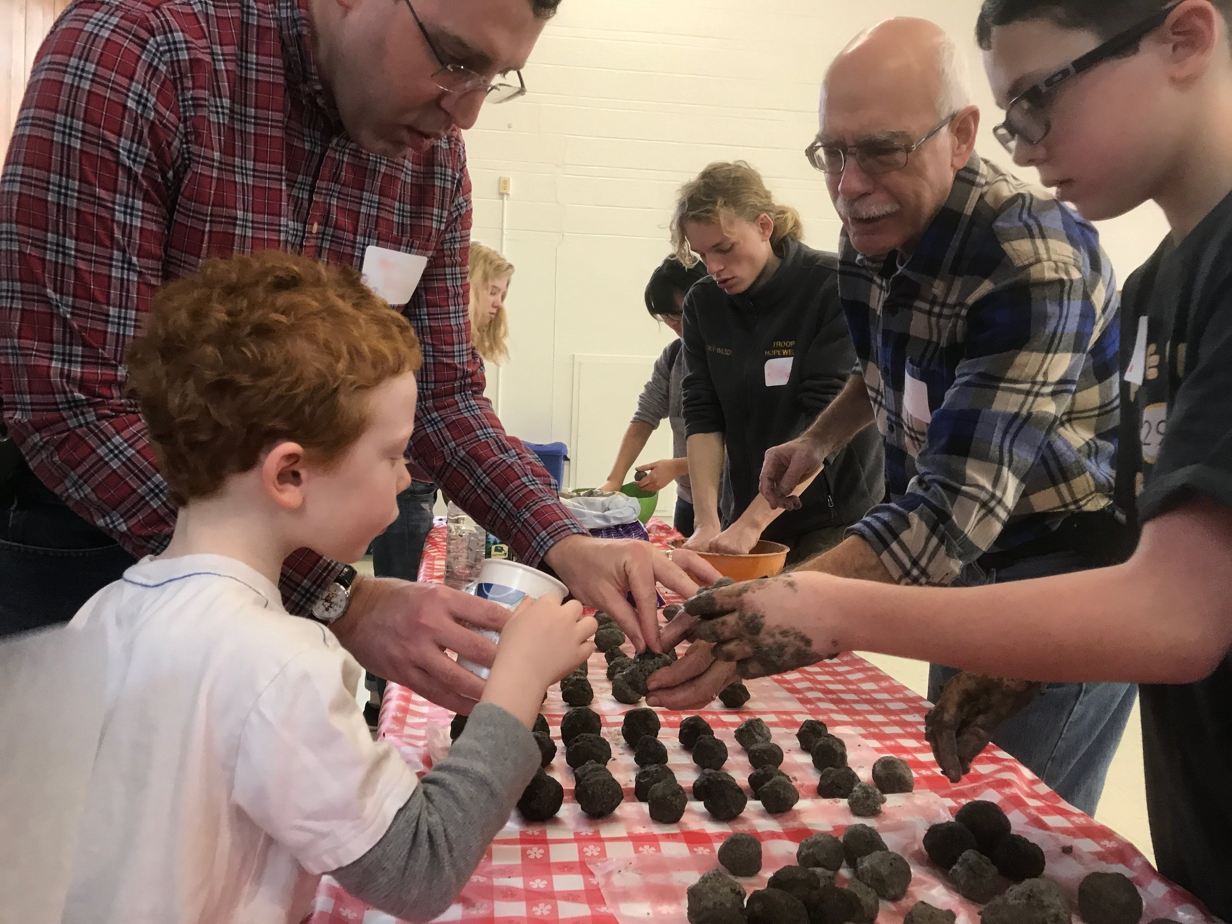 Volunteers making Seed BonBons at the Martin Luther King Day of Service.