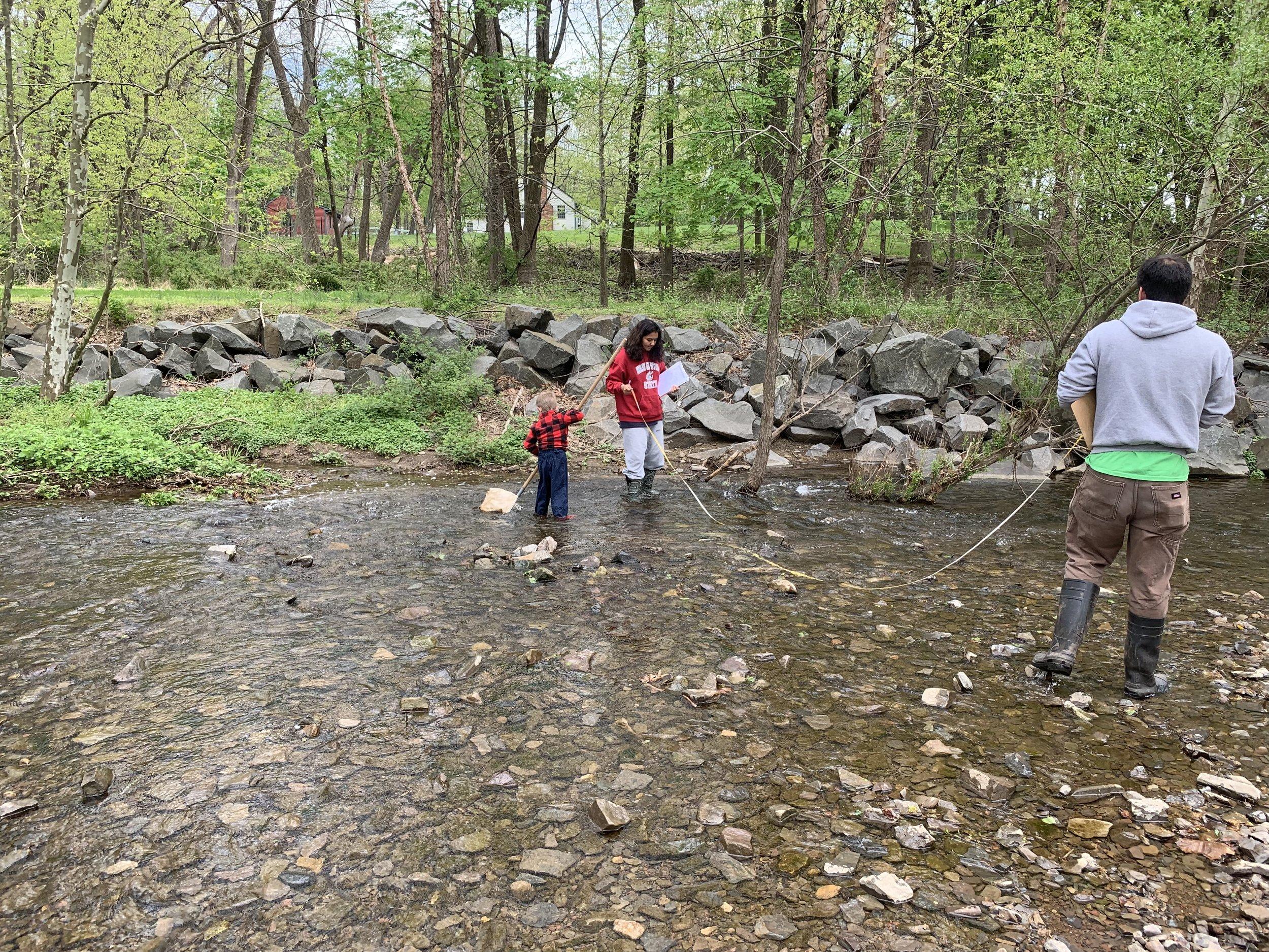 Volunteers measuring stream width.