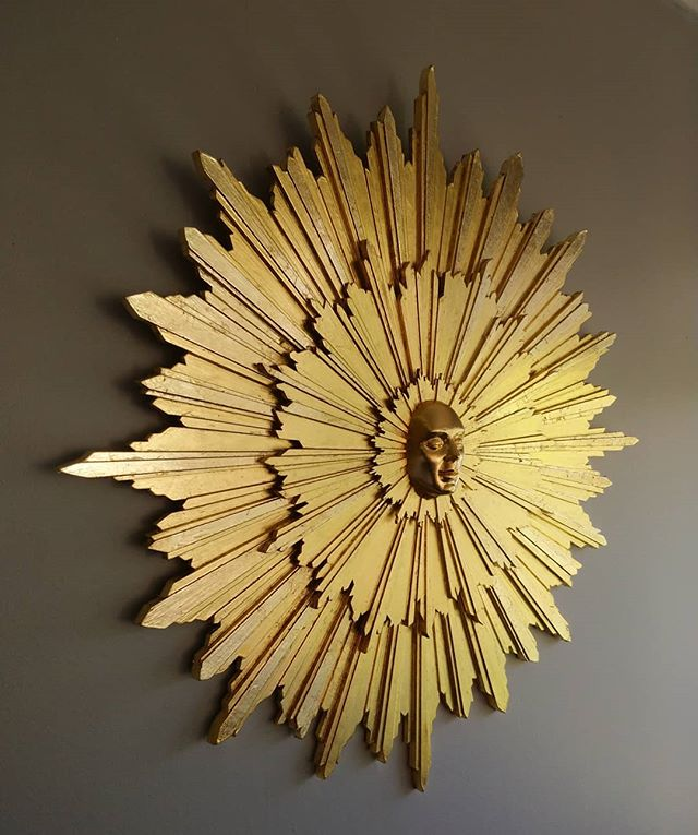 Helios Mixed media & 24 carat gold leaf 50cm in diameter  Pretty pleased with the overall impact of this piece. Never made anything quite like this before and it's one of my favourites on show @elmsliehouse starting tomorrow. Open to all!  #helios #sungod #greek #greekmythology #sun #sunrays #sculpture #gold #goldleaf #gilding #face #sculpture #greatmalvern #malvernhills #worcester #portrait #faces #architecture #templeofappollo #photooftheday #happy #fun #saturday #shedquarters #nofilter #goldface #shiney