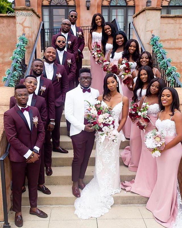 We are so in love with this color palette combo of eggplant and blush! Both bridal parties came to slay and they conquered 😍😍. Repost from @ghanaweddingvendors and @weddingsonpoint