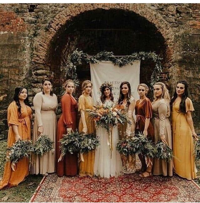 It's the first day of fall and what better way to say hello than with this fall color palette! Repost from @huesofvintage #bridesmaiddresses #fallbridesmaids
