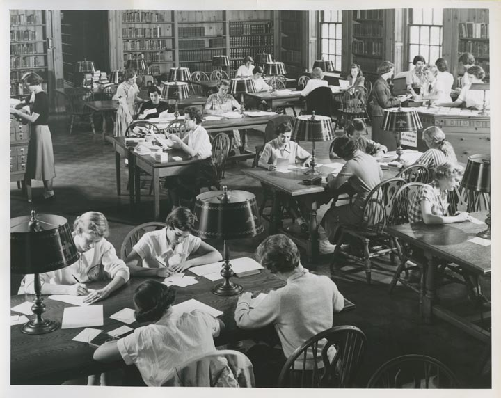 Students study in Chatham College's library, now the Welker Room of the James Laughlin Music Hall.