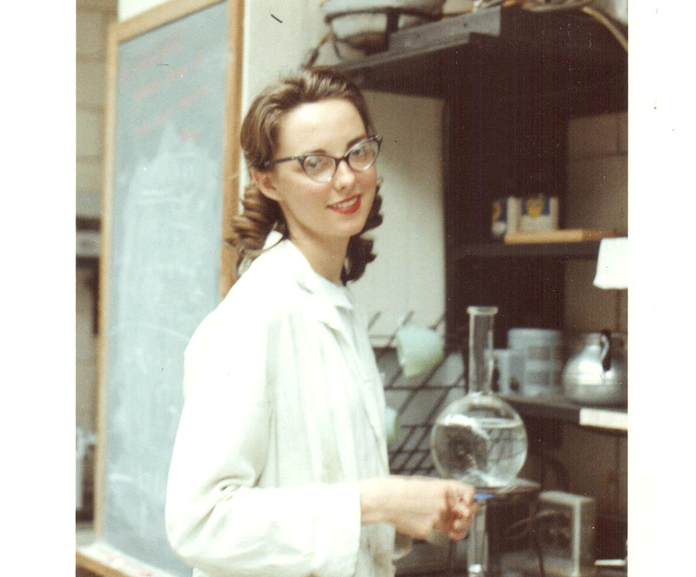 Marianne Kipper '61 making coffee in a Chatham College for Women lab.