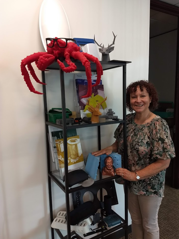 Renee Eaton '80, CEO and founder of 3D-printing company RapidMade with 3D Printed Creations