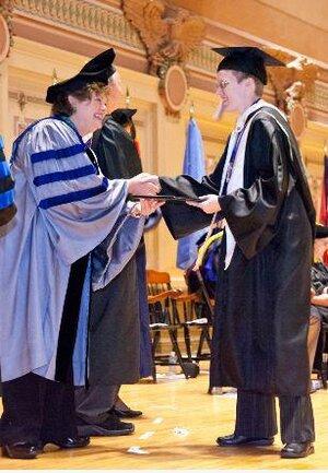 Chatham Alumna Elizabeth Dorssom '12 receiving her diploma