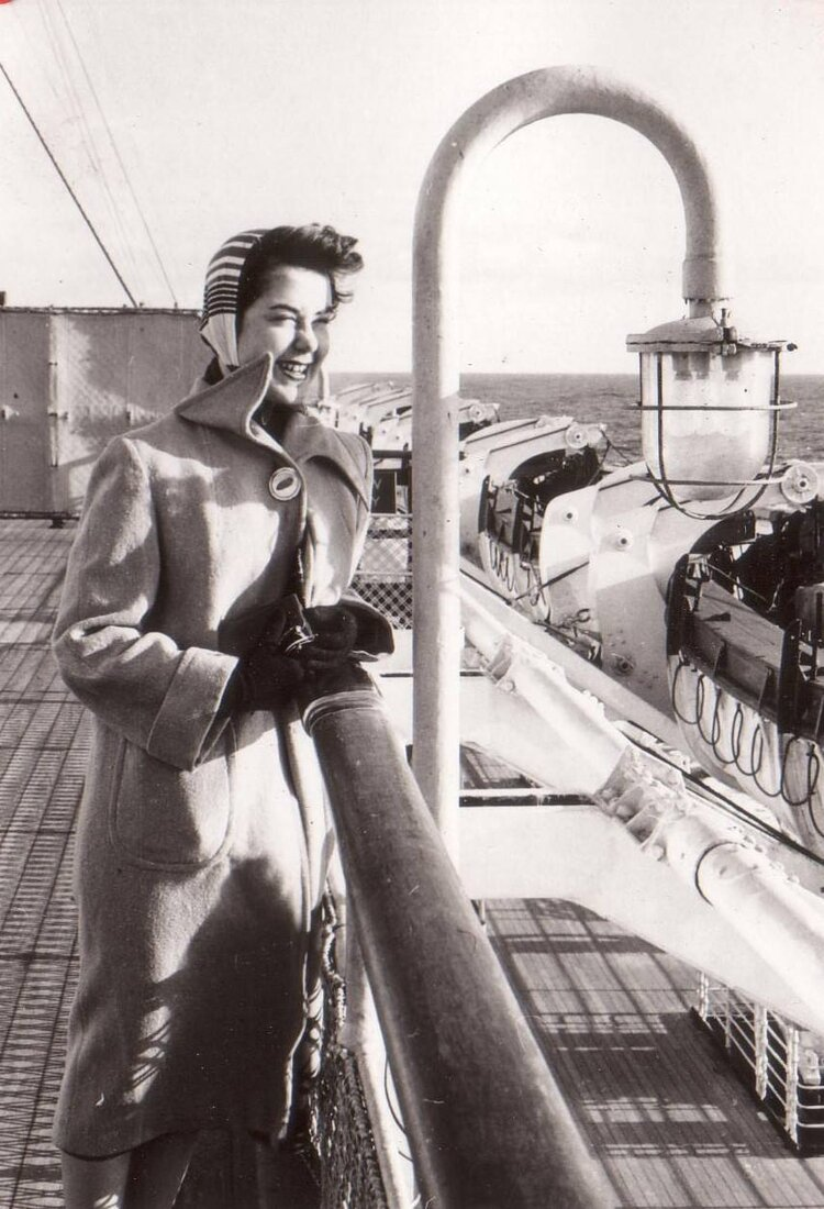 Returning home to the States in 1955, Johanna Holroyd-Piccardo traveled aboard the Queen Mary, a massive ocean liner of the Cunard Line
