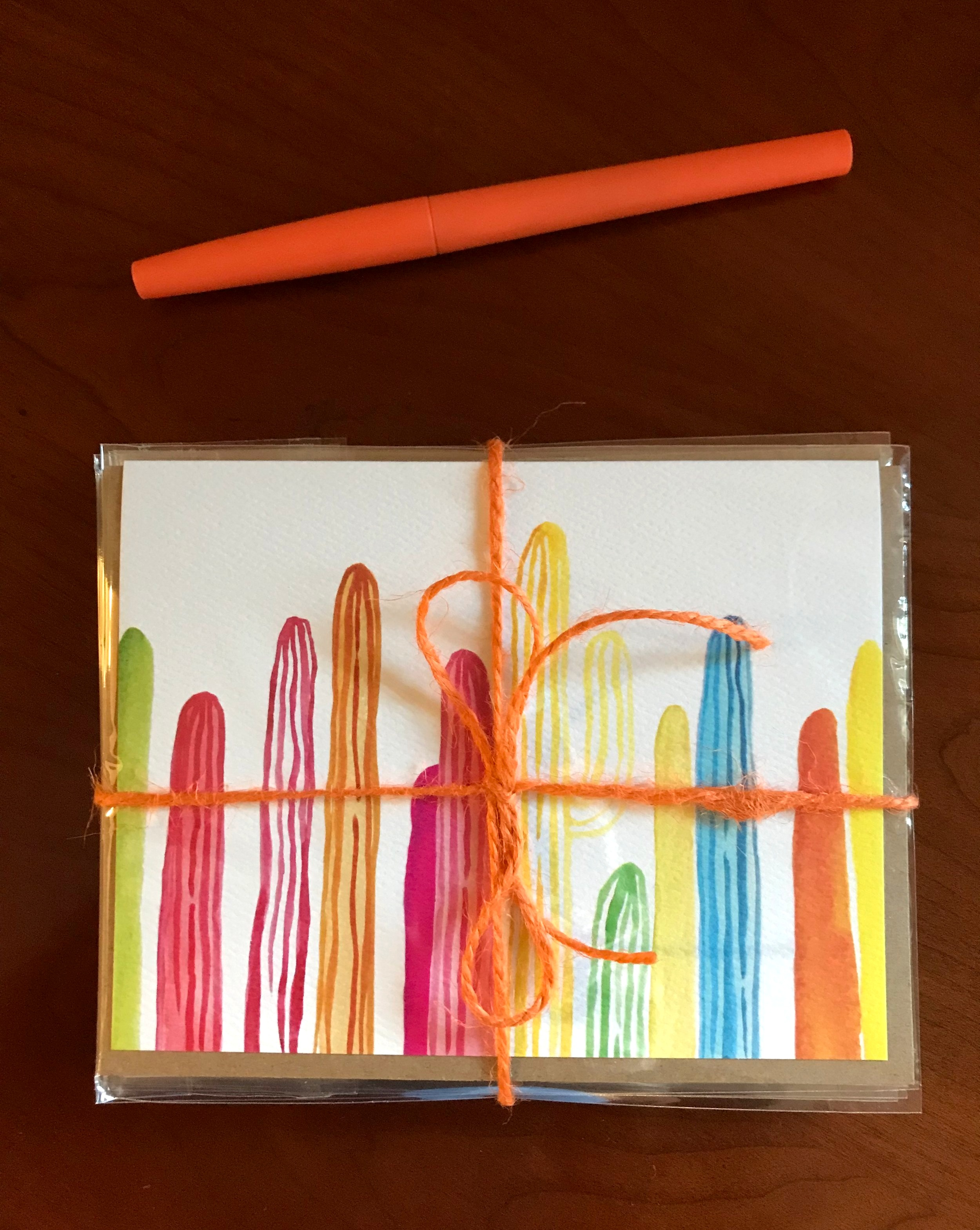""""""" Rainbow Saguaros """" Greeting Cards by Paige Poppe"""