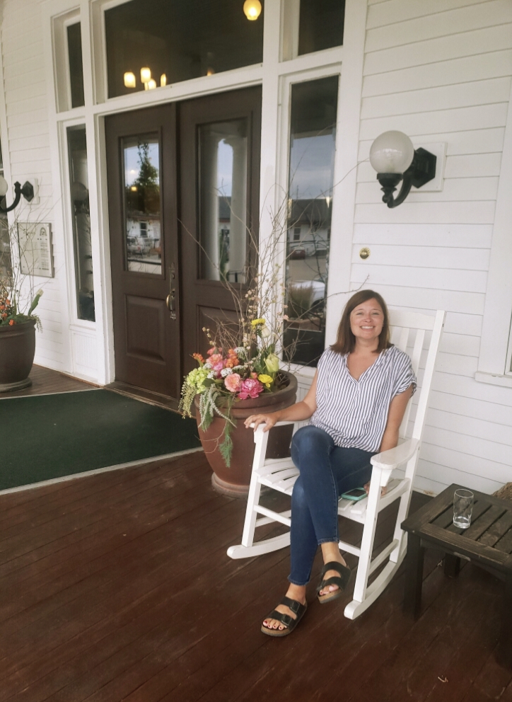 Enjoying the welcoming porch at the Sacajawea Hotel