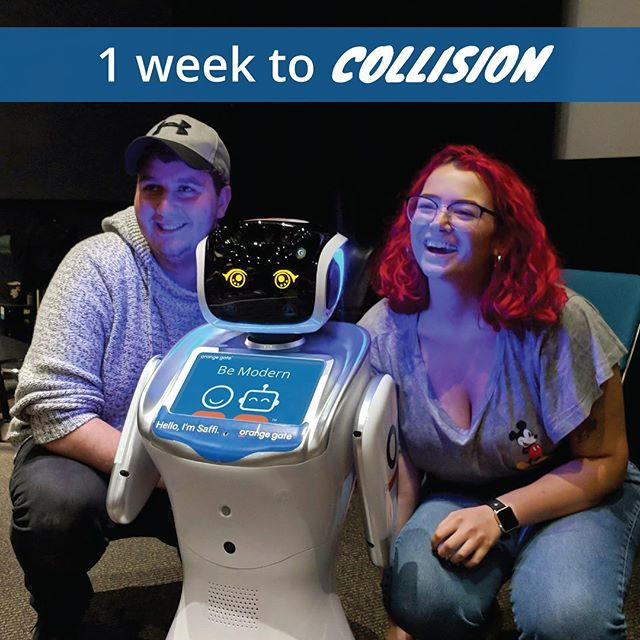 One week until Collision! Saffi has her ticket, and she's excited to meet everyone. We'll have a booth on May 22, make sure you come see us! 🤖🧡 #collisionconf