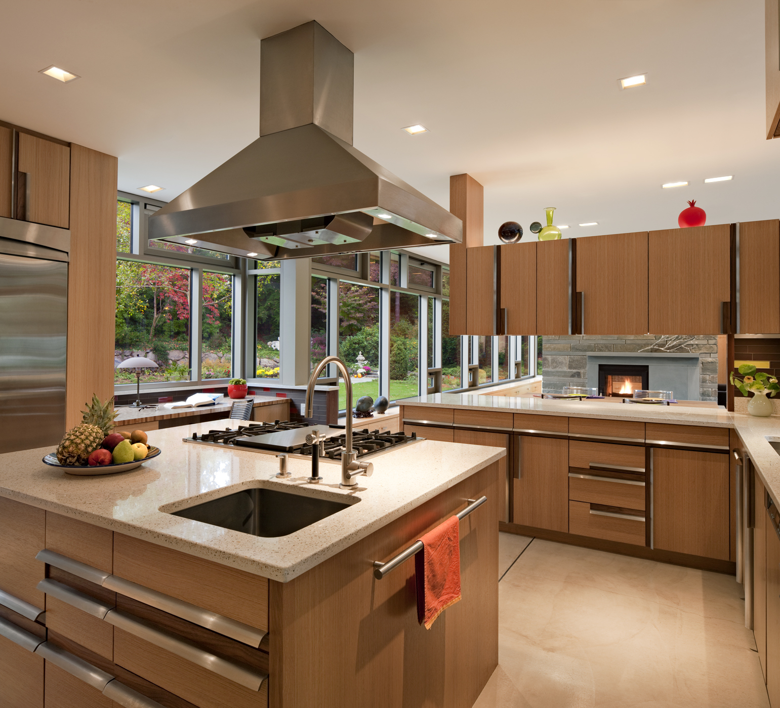 Kitchen featuring Energy Star appliances and natural daylighing,    Floating Peak House