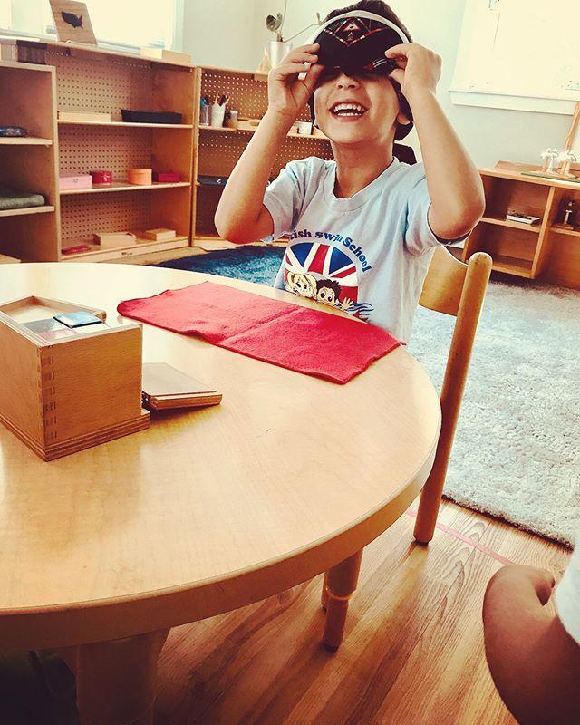 Extending his skills, blindfolded #britishswimschool #waylandmontessori #waylandKid #waylandMA #montessori #preschool #education #binomialcube #sensorial #fall #school #montessoridads