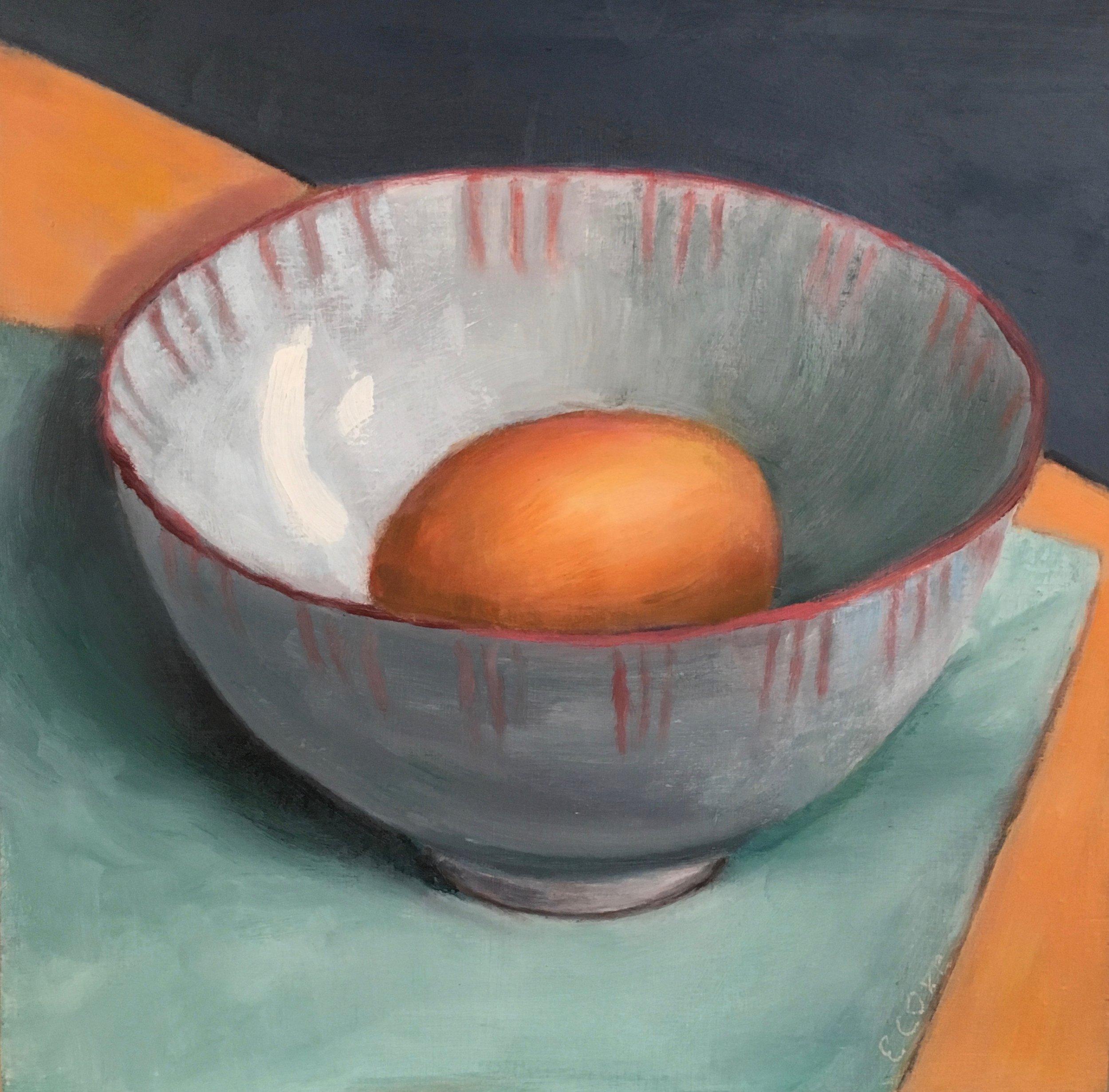 Egg in Ceramic Bowl