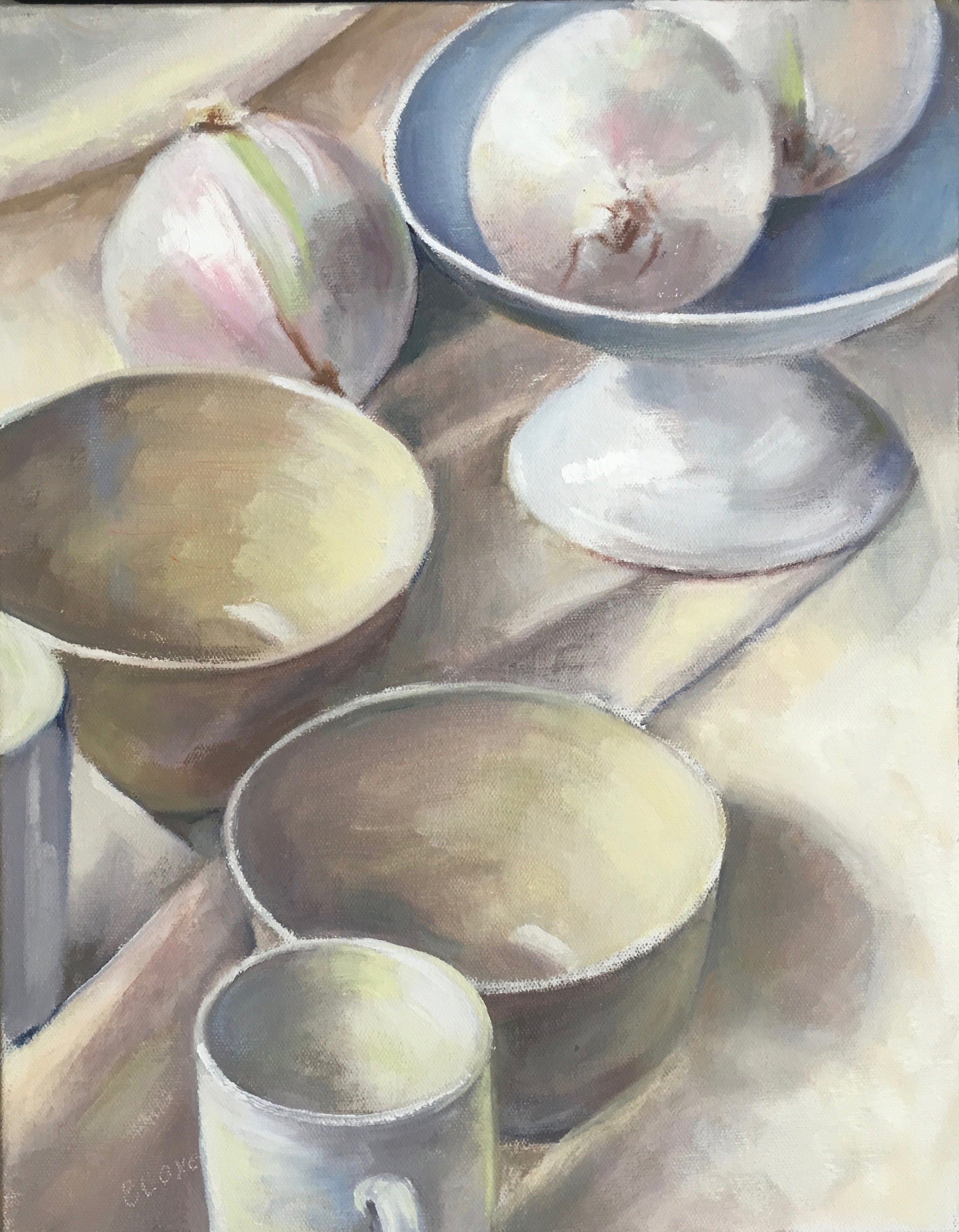 Three Onions and White Dishes