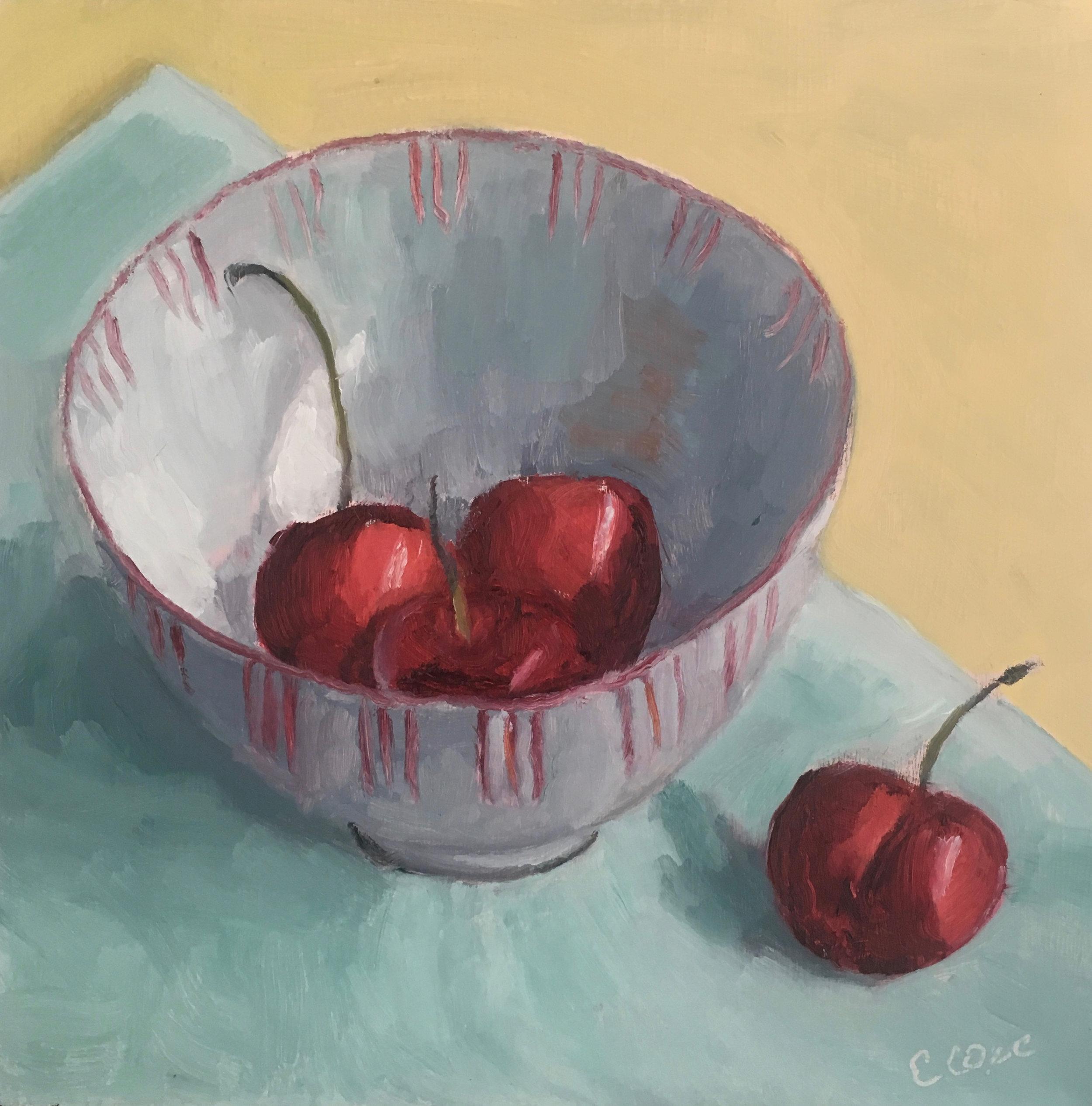 Cherries in Ceramic Bowl
