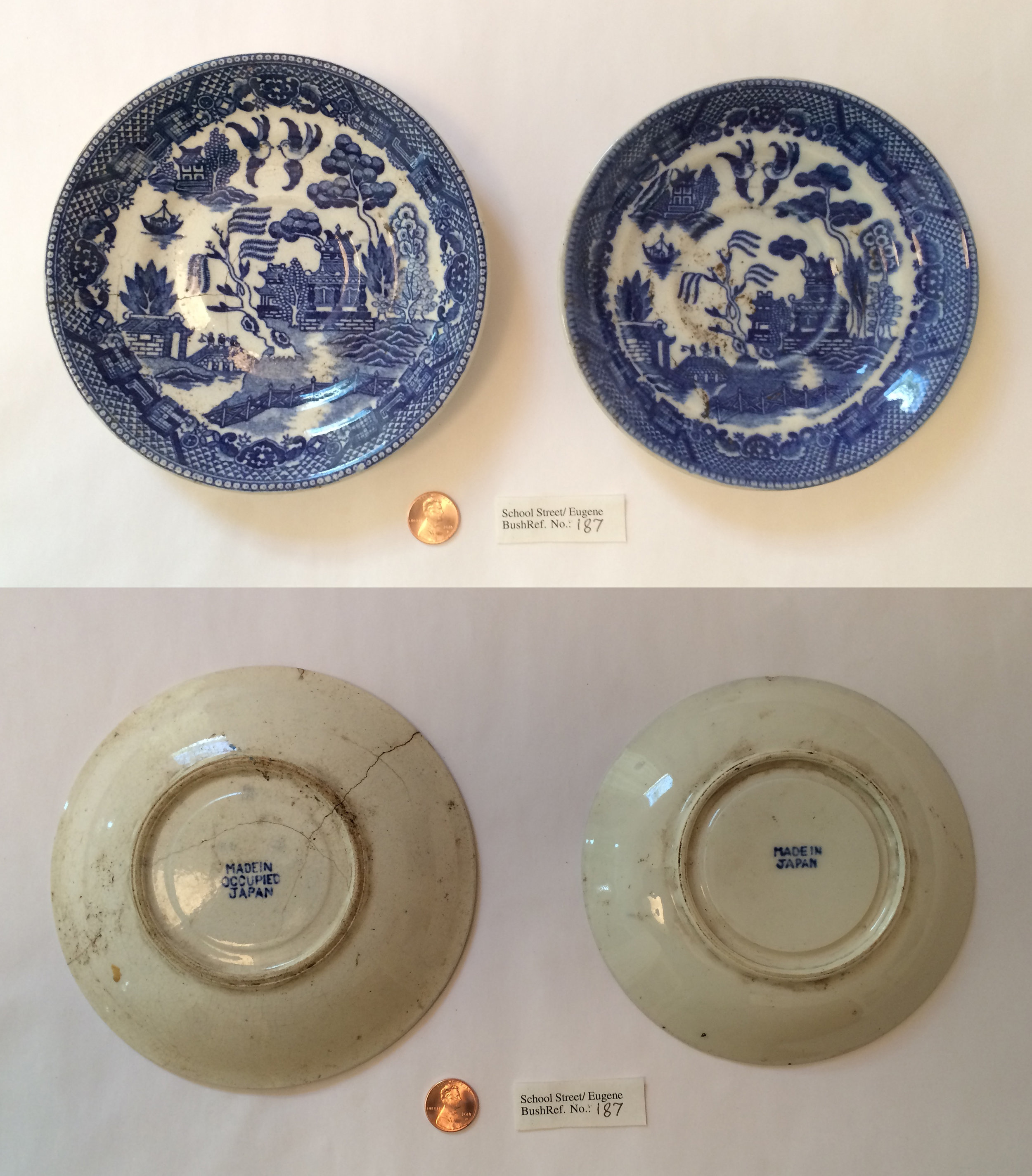 "These plates, one marked ""Made in Occupied Japan"", were found behind the dokusan hut area, probably discarded there in the mid-20th century.  (Please click to enlarge)"